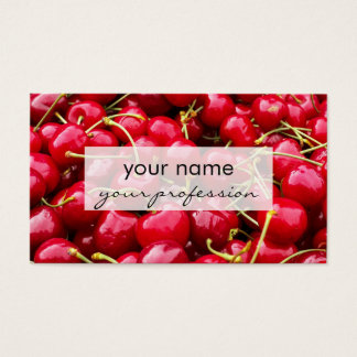 delicious cute red cherry fruits photograph business card