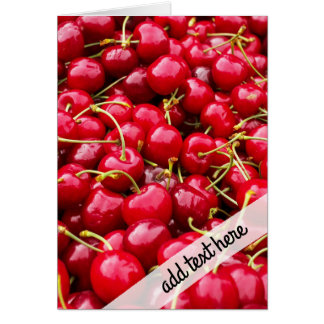 delicious cute red cherry fruits photograph card