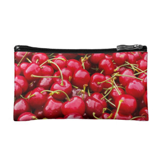 delicious cute red cherry fruits photograph makeup bag
