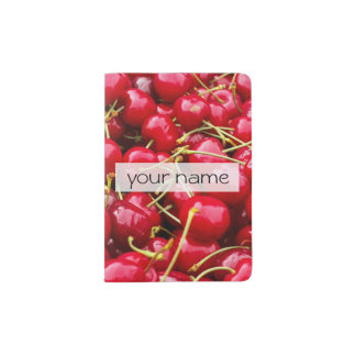 delicious cute red cherry fruits photograph passport holder