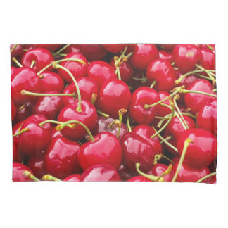 delicious cute red cherry fruits photograph pillowcase