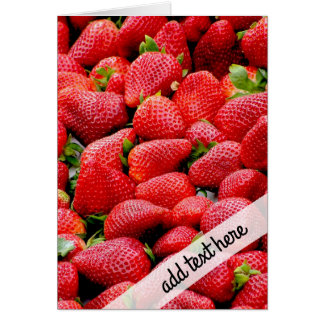 delicious dark pink strawberries photograph card