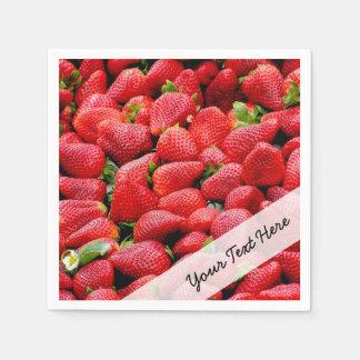 delicious dark pink strawberries photograph disposable serviette