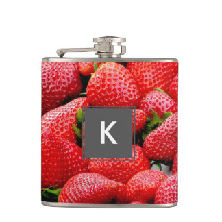 delicious dark pink strawberries photograph flask