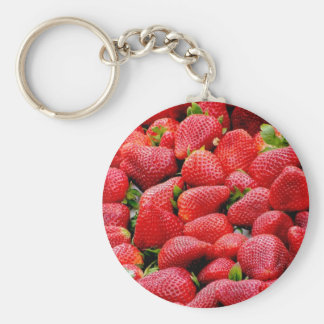 delicious dark pink strawberries photograph key ring