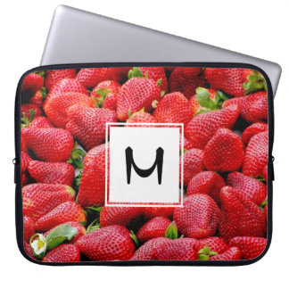 delicious dark pink strawberries photograph laptop sleeve