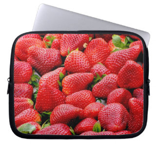 delicious dark pink strawberries photograph laptop sleeve