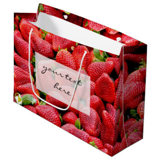 delicious dark pink strawberries photograph large gift bag