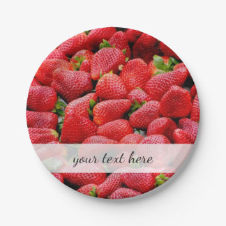 delicious dark pink strawberries photograph paper plate