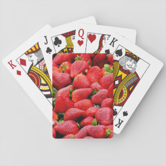delicious dark pink strawberries photograph playing cards