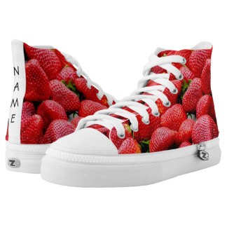 delicious dark pink strawberries photograph printed shoes
