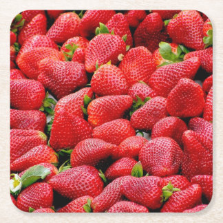 delicious dark pink strawberries photograph square paper coaster