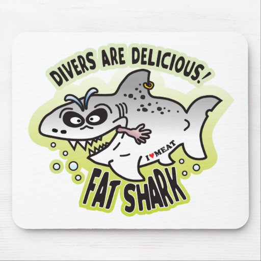Delicious Divers Fat Shark Mouse Pad