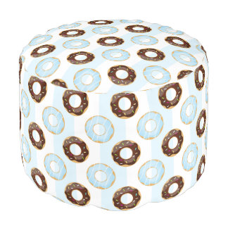 Delicious Donuts Blue Stripes Pattern Pouf