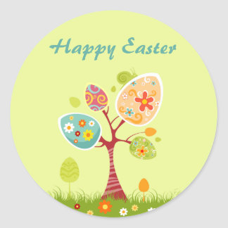 Delicious Easter Egg Tree Round Sticker