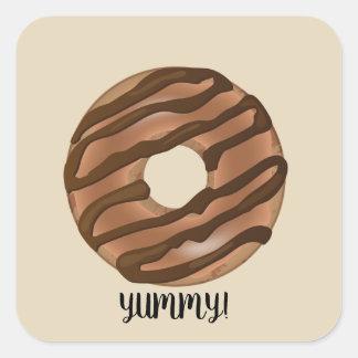 Delicious Fudge Caramel Doughnut Square Sticker