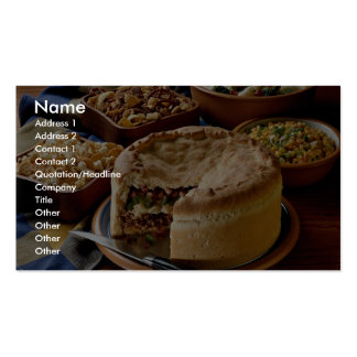 Delicious Ground beef pot pie with salads Business Card Templates