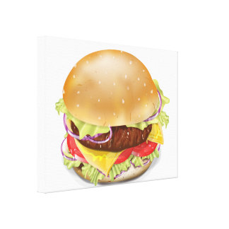 Delicious hamburger or cheeseburger. stretched canvas print
