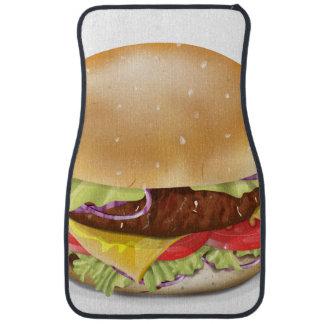 Delicious hamburger or cheeseburger. car mat