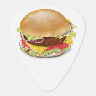 Delicious hamburger or cheeseburger. plectrum