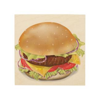 Delicious hamburger or cheeseburger. wood canvases