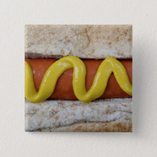 delicious hot dog with mustard photograph 15 cm square badge