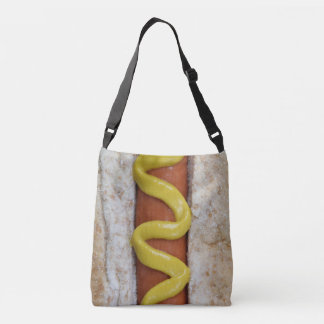 delicious hot dog with mustard photograph crossbody bag