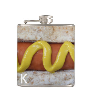 delicious hot dog with mustard photograph flasks