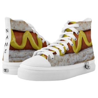delicious hot dog with mustard photograph high tops
