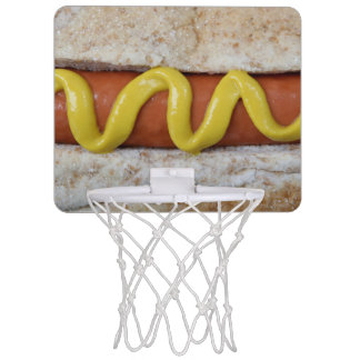 delicious hot dog with mustard photograph mini basketball hoop