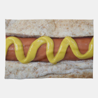 delicious hot dog with mustard photograph tea towels