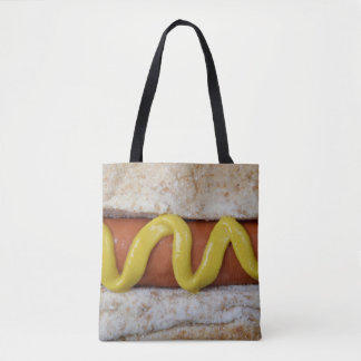 delicious hot dog with mustard photograph tote bag