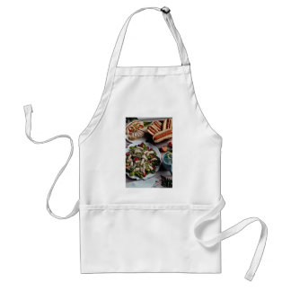 Delicious Hot dogs, turkey sandwich and meat salad Aprons