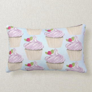 Delicious Pink Cupcake Berry on Top Lumbar Cushion