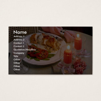 Delicious Romantic candlelight supper Business Card