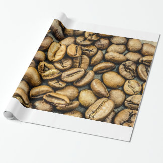 Delicious rustic gold coffee beans wrapping paper