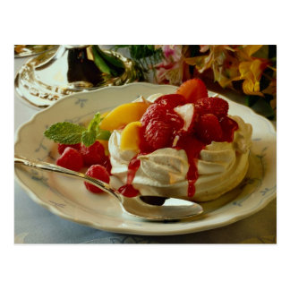 Delicious Strawberry, raspberry, peach shortcake Postcard