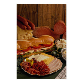 Delicious Submarine sandwich with meats and cheese Poster