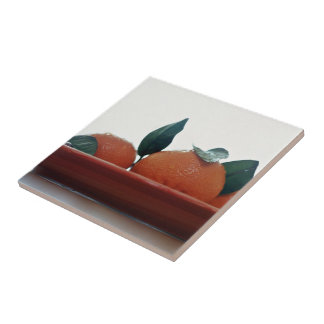 Delicious Tangerine fruits in a bowl Ceramic Tiles