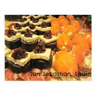 Delicious varieties of Pinxtos in San Sebastian Postcard
