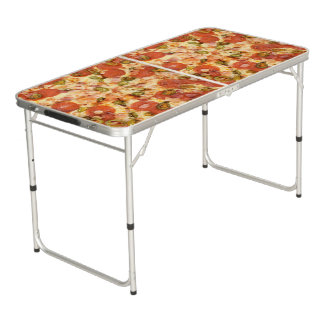 delicious whole pizza pepperoni jalapeno photo beer pong table