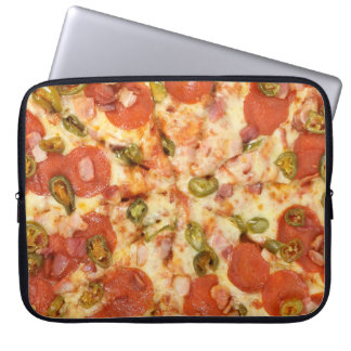 delicious whole pizza pepperoni jalapeno photo laptop sleeve