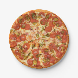 delicious whole pizza pepperoni jalapeno photo paper plate