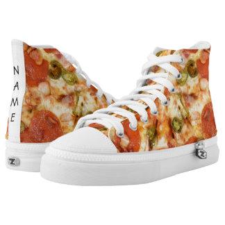 delicious whole pizza pepperoni jalapeno photo printed shoes