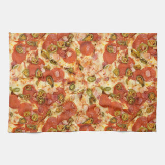 delicious whole pizza pepperoni jalapeno photo tea towel