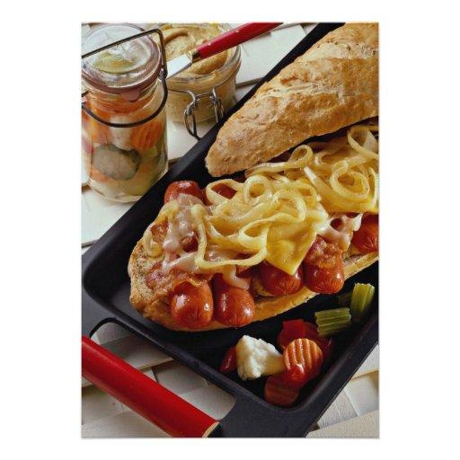Delicious Wieners, onions and bacon on a sub bun Custom Invites
