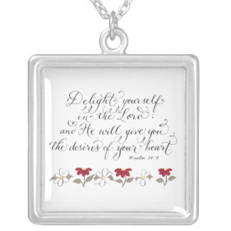 Delight in the Lord inspiration verse Silver Plated Necklace