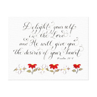 Delight in the Lord inspiration verse typography Canvas Print
