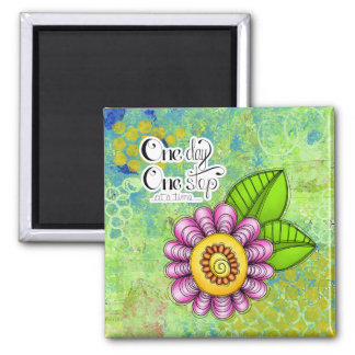 Delight Positive Thought Doodle Flower Magnet