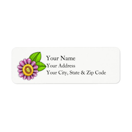 Delight Watercolor Doodle Flower Address Label